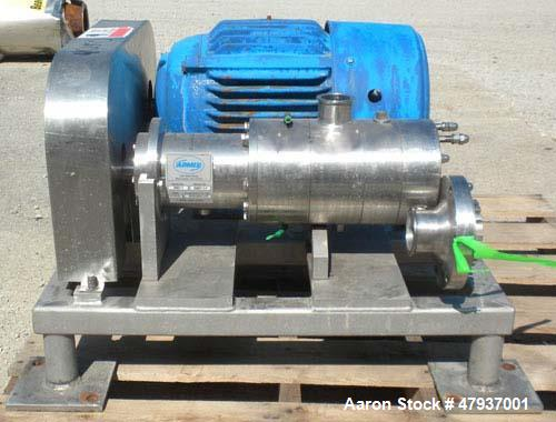 Used- Admix Boston Shear Pump, Model BSM37-3-P, 316 Stainless Steel. Approximately 15 to 50 gallons per minute capacity, tip...