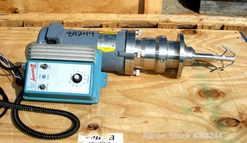 USED: Inline Mixer, stainless steel. 1 hp motor, 90 volt, 1750 rpm DC motor with speed controller. Built by Browning.