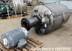 "Used- Cowles Tank Mounted Dissolver, Model 20 DX. Approximate 2-1/4"" diameter stainless steel shaft with a 17"" diameter saw ..."