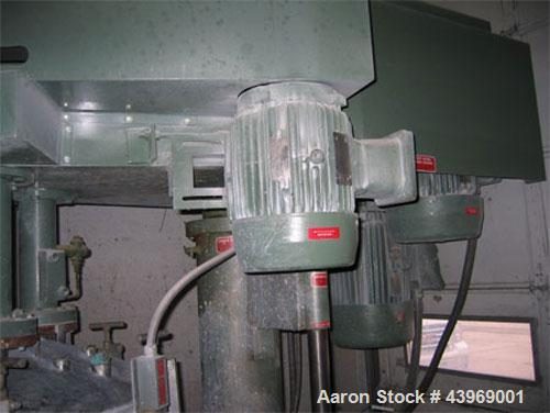Used-Myers 550/500A Tri-Shaft Mixer.  Includes (2) 160 gallon jacketed stainless steel tanks; hydraulic ram press for dispen...
