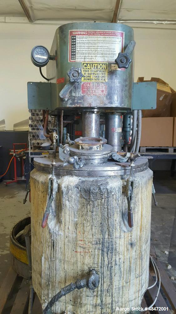 """Used- Myers Dual Shaft Mixer, Model V550/5004-5-5-737. (2) 2"""" diameter shafts approximately 5 hp, air over oil lift, approxi..."""
