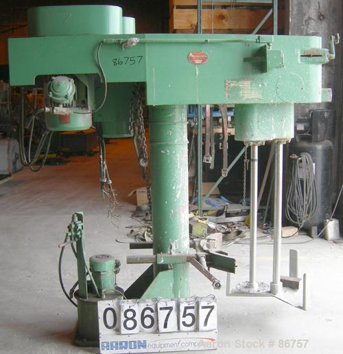 "USED: Myers dual shaft disperser, model 550E. (2) 2"" diameter shafts, (1) with a 10"" diameter standard disk blade, (1) low p..."