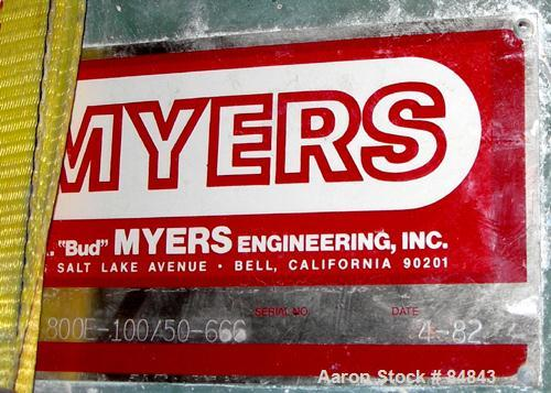 "Used- Myers Heavy Duty Disperser, Model 800E-100-50. 3-1/2"" diameter x 86"" long stainless steel shaft with 22"" diameter sawt..."