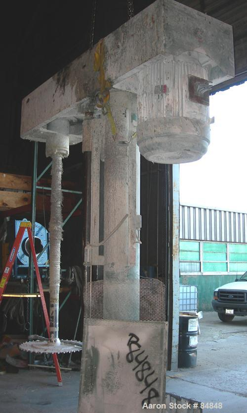 """USED: Myers heavy duty disperser, model 800E-150-75. 4"""" diameter x 86"""" long stainless steel shaft with 32"""" diameter sawtooth..."""
