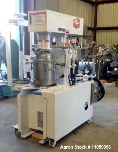 "Used- Myers Triple Shaft Mixer/Disperser, Model HVL 550/500-7.5-1242. Approximately 4 gallon, 10.5"" diameter x 12"" deep. Jac..."