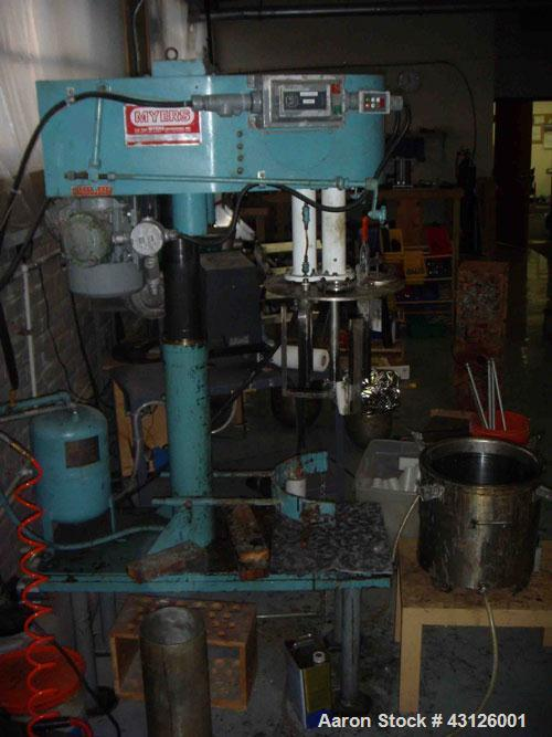 """Used-Myers Dual Shaft Mixer, Model V-L550-3-3, stainless steel.(2) Approximately 2"""" diameter shafts with a low profile sweep..."""