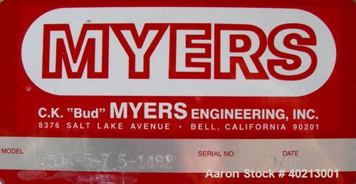 "Used- Myers dual shaft mixer, model V550A-5-7.5. (2) 2"" diameter shafts, (1) 304 stainless steel, 6""  diameter saw tooth bla..."