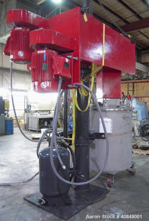 Used- Premier Mill Corp Prem-A-Mix ESD Dual Shaft Disperser, Model ESD/V-40/25, 304 stainless steel. 138 to 275 gallon batch...