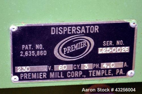 "Used- Premier Mill Laboratory Dispersator. Capacity up to 5 gallon batches. Approximate ¾"" diameter x 10"" long 316 stainless..."