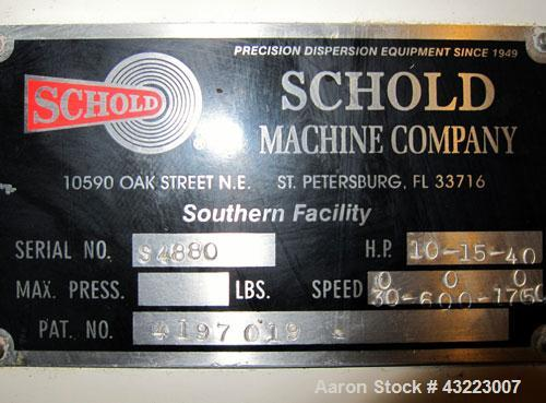Used- Schold Concentric Triple Shaft Tri-axial Disperser, 304 Stainless Steel. (1) High speed shear blade, driven by a 40 hp...