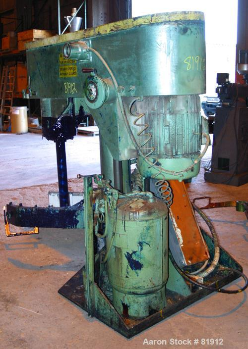 """USED: Schold Co-Axial Single Motor Variable Speed Disperser, model 50. (1) 3-3/4"""" diameter x 32"""" long shaft with a 12"""" sawto..."""