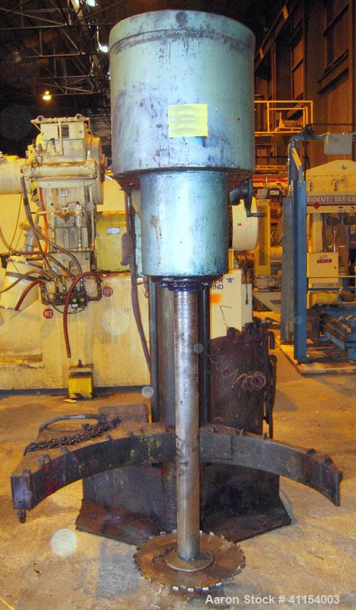 "Used- Schold Disperser. 3 1/2"" diameter x 44"" long shaft with an 18"" diameter sawtooth blade. Will center in an approximate ..."