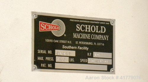Used- Schold Single Shaft Disperser. (2) 3 blade turbines driven by a 10hp motor, speed range 50-150 rpm. Includes a can dus...