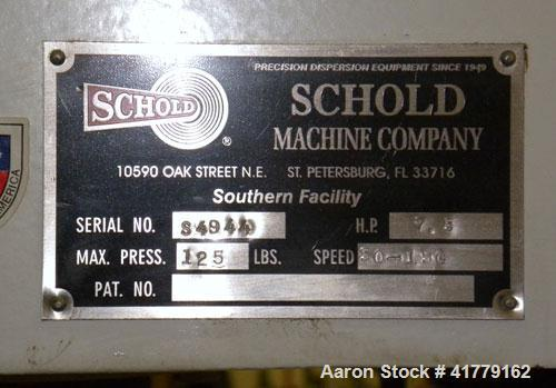 Used- Schold Single Shaft Disperser. (2) 3 blade turbines driven by a 7.5hp motor, speed range 50-150 rpm. Includes a can du...