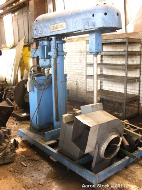 """USED: Shar Disperser, 42"""" long stainless steel shaft, hydraulic lift with pump, floor mounted. Driven by a 20 hp, 480 volt X..."""