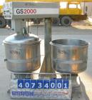 Used- Gruber Tech Vacuum Mixer, model GS2000, 304 stainless steel. Dual stationary non-jacketed mixing cans, approximately 5...