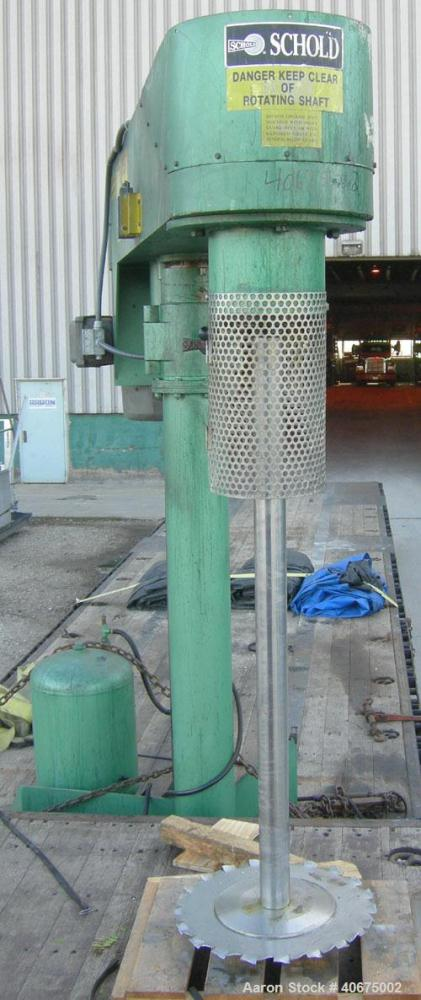 """Used- Schold Disperser, Model VMD501. 3"""" diameter x 55"""" long 304 stainless steel shaft with a 20"""" diameter saw tooth blade. ..."""