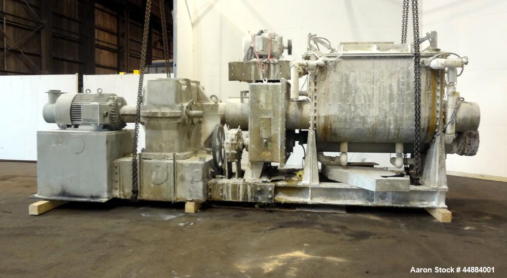 Used- Aaron Process 500 Gallon Mixer Extruder, Model MX 500.  Carbon steel construction.  200 Hp main drive.