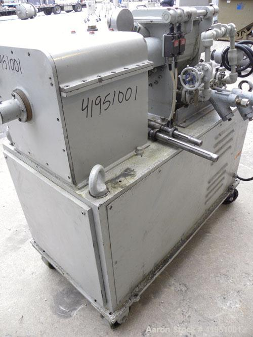 Used- AMK Double Arm Mixtruder, approximately 1-1/2 gallon working capacity, 316 stainless steel. Carbon steel jacketed bowl...