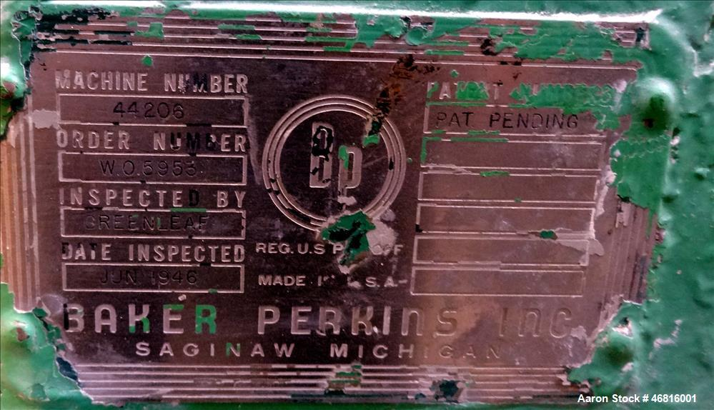 Used- Baker Perkins Double Arm Mixer, Approximately 50 Gallon, Carbon Steel.