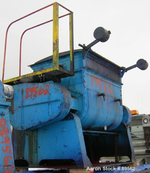 """USED: Double arm mixer, approximate 200 gallon working capacity, carbon steel. Jacketed bowl 49"""" left to right x 45"""" front t..."""