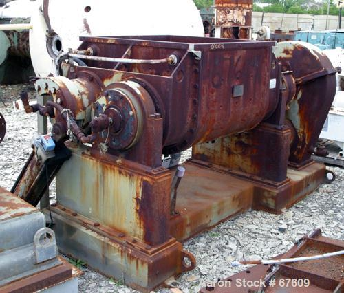 "USED: Teledyne double arm mixer, 100 gallon working (150 total), carbon steel, jacketed bowl, 39-1/4"" front to back x 36"" le..."