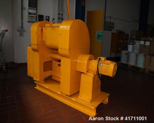 """Used-VEB Double Z Mixer. Carbon steel, capacity 110 lbs/1.8 cubic feet (50 kg), bowl size 16"""" x 16"""" x 16"""" (400 x 400 x 400 m..."""