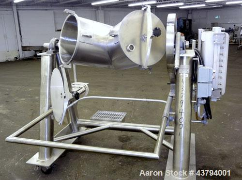 "Used- Evansville Sheet Metal Works Twin Sheel Blender, Model ESMW-5.0, 316 Stainless Steel. Approximate 18"" diameter charge ..."