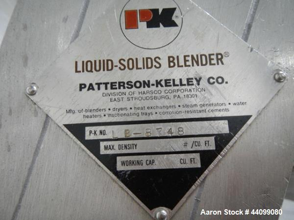 Used- Patterson Kelley twin shell blender, 8 quart stainless steel construction, liquid solids bar less drive, approx. 1/5 h...