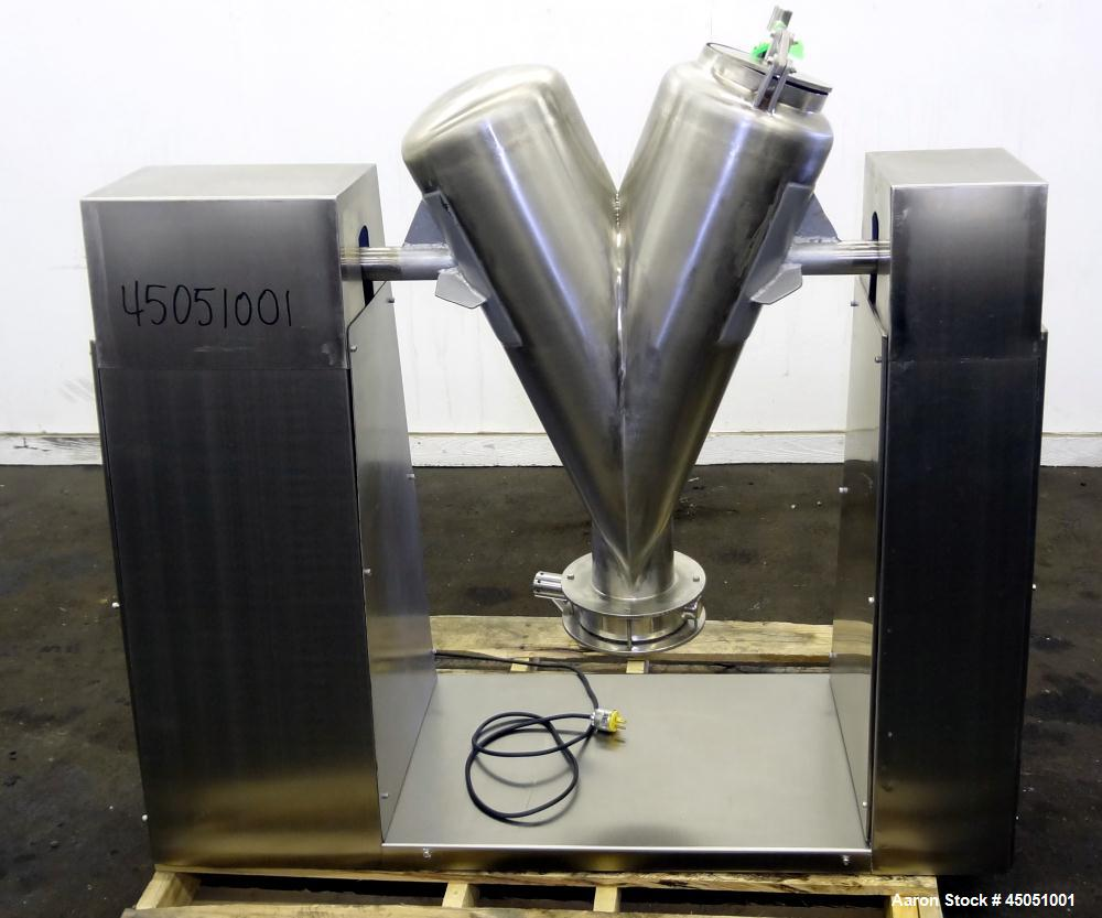 Used- Stainless Steel Delshine Twin Shell Blender, Approximately 5 Cubic Feet
