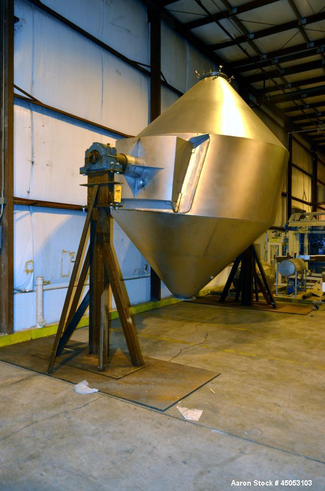 Used- Stainless Steel Slant Double Cone Mixer, Approximate 250 Cubic Feet