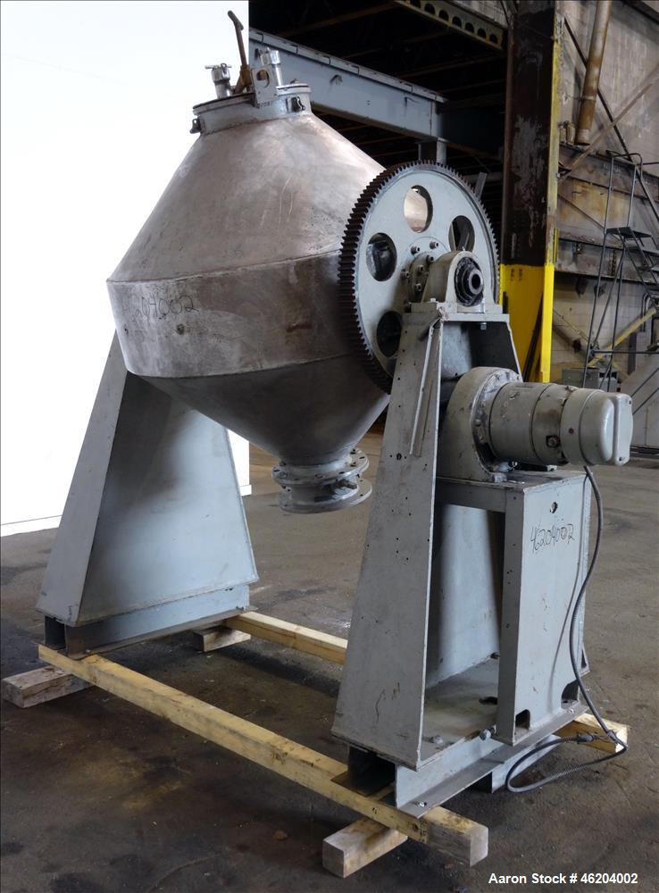 Used- Double Cone Blender, Approximately 30 Cubic Feet, 304 Stainless Steel.