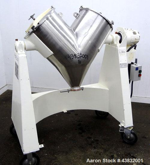 "Used- Apex Construction Limited Twin Shell Blender, approximately 4 cubic feet capacity, 321 stainless steel. (2) 15"" diamet..."