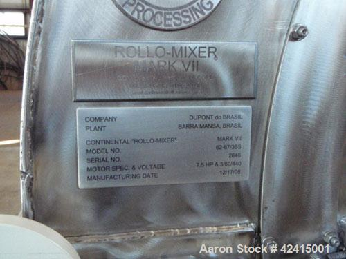 "Used-Continental ""Rollo-Mixer"" Mark VII, model 62-67/35S. 67 Cubic feet, 304L stainless steel, 7.5 hp TEFC inverter duty mot..."