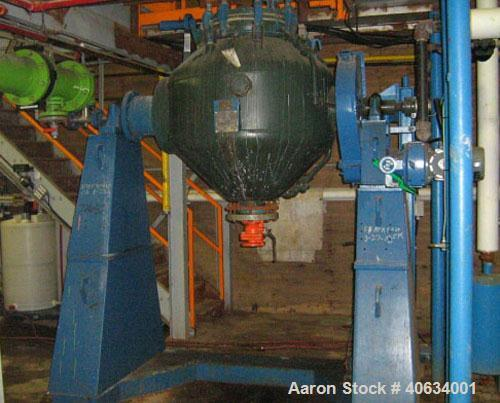 Used-De Dietrich Glass Lined Double Cone Vacuum Dryer, model SR400. 11 cubic feet working capacity, 16.8 total, type C2317 g...