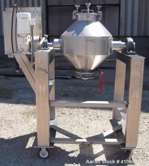 "Used- Gemco Double Cone Blender, 3 Cubic Feet, 304 Stainless Steel. Maximum material density 90 pounds a cubic foot. 26"" dia..."
