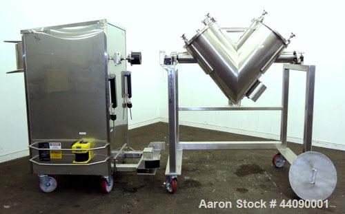 Used- Stainless Steel Gemco Direct Drive Twin Shell Blender, 2.5 to 5 cubic feet