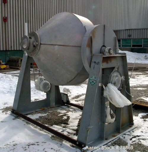 "USED: Gemco double cone blender, model Double Cone Blender-Solids. Stainless steel, 40 cubic feet, 60"" diameter x 15"" straig..."