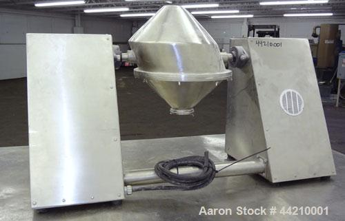 Used- Stainless Steel Gemco Slant Cone Lab Blender, 8 Quart (0.26 Cubic Feet) Wo