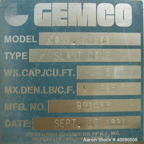 Used- Gemco Slant Cone Blender, 5 cubic feet working capacity, 316 stainless steel. Maximum material density 265 pounds per ...