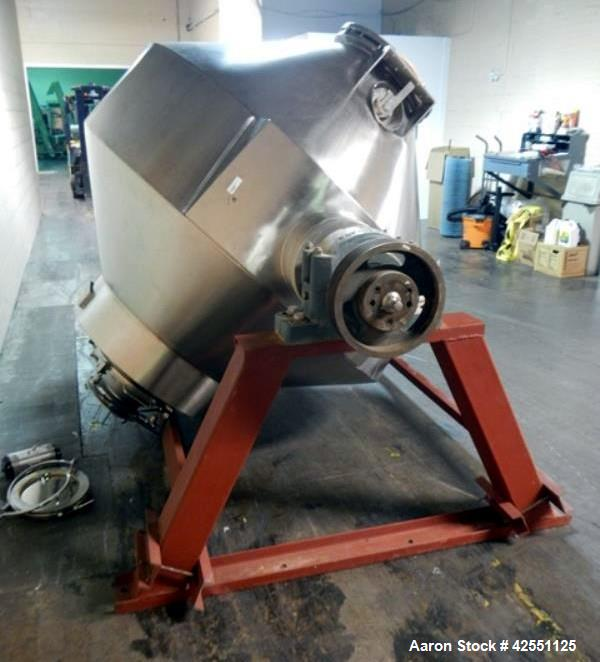 Used- Stainless Steel Gemco double cone blender, 75 cubic feet