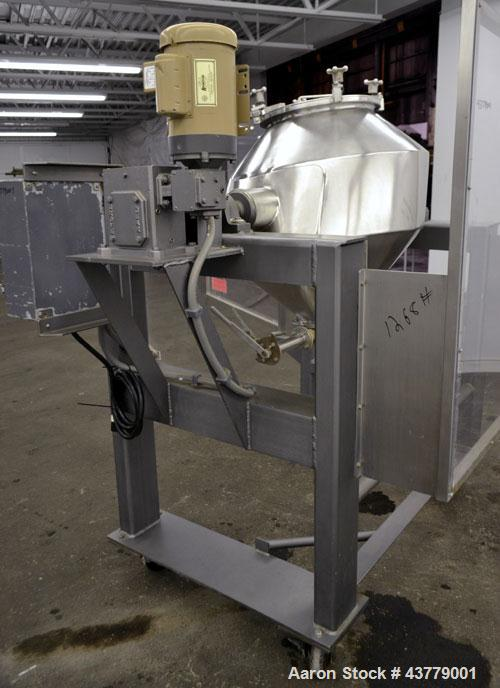"""Used- Gemco Slant Cone Blender, 5 Cubic Feet Working Capacity, 316 Stainless Steel. Approximately 31-1/2"""" diameter x 16"""" and..."""