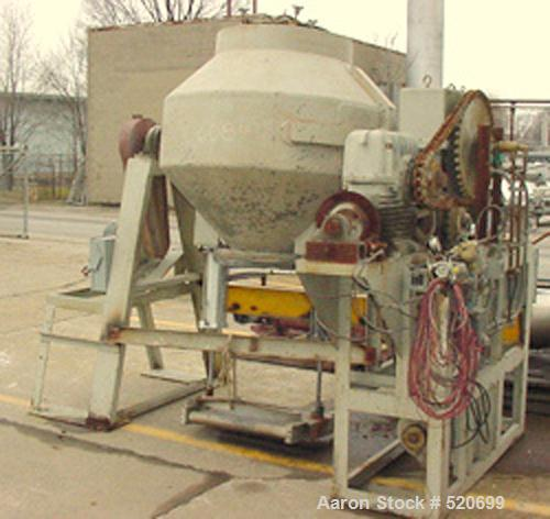 """USED: 30 Cubic Foot Gemco double cone mixer, stainless steel. Shell measures 52"""" diameter x 15"""" straight side x 18"""" cones. H..."""