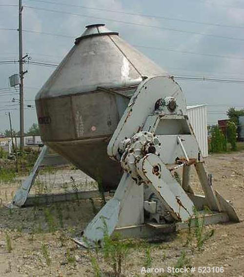 """USED: Gemco 234 cubic foot double cone mixer, 304 stainless steel. 9'3"""" inside diameter, 20 hp motor with Dodge reducer, 3/6..."""