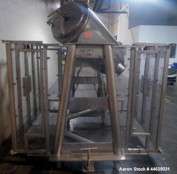 Used- Stainless Steel Metal Machining Company Twin Shell Blender, 10 Cubic Feet