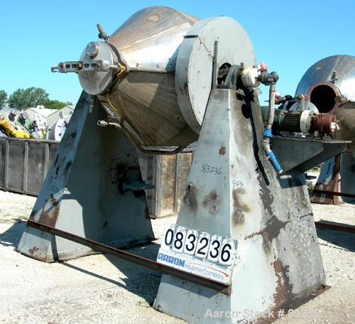 Used- National Tank & Manufacturing Double Cone Jacketed Blender, 40 Cubic Feet Working Capacity (59.8 total), 304 Stainless...