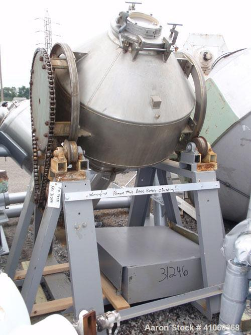 "Used- Double Cone Blender, 11 Cubic Feet, Stainless Steel. 40"" diameter x 14"" straight side x 12"" cones. 14"" top charge with..."