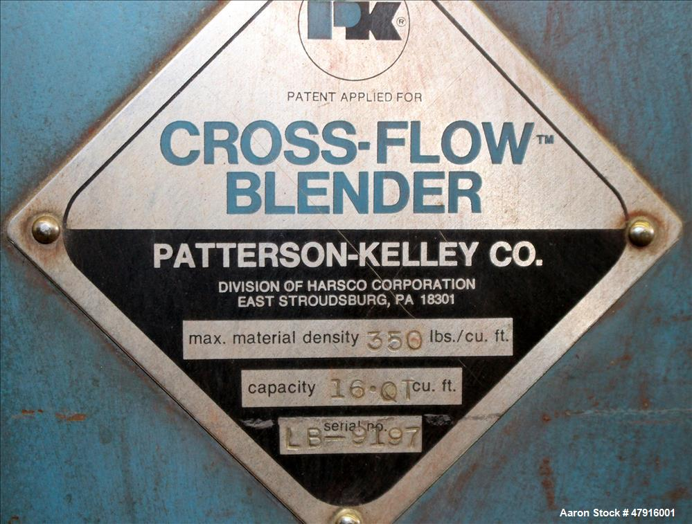 Used- Patterson Kelley Twin Shell Cross Flow Blender, 16 Quart capacity, 304 Sta