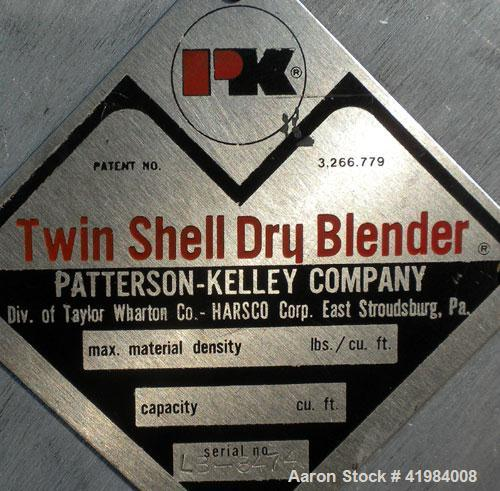 "Used- Patterson Kelley Twin Shell Dry Blender, 4 Quart Capacity (.16 Cubic Feet), 304 Stainless Steel. (2) 5 1/2"" diameter c..."
