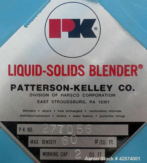 Used- Patterson-Kelley Twin Shell Liquid-Solids Blender, 2 cubic feet capacity, 304 stainless steel. 60 Pounds per cubic foo...